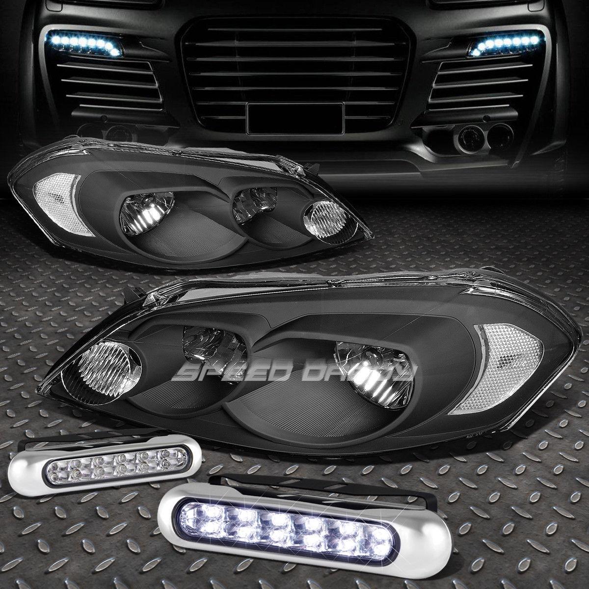 フォグライト BLACK HOUSING+CORNER HEADLIGHT+12 LED GRILL FOG LIGHT FOR 06-16 MONTE CARLO ブラックハウジング+コーナーヘッドライト+ 06-16 MONTE CARLO用LEDグリルフォグライト
