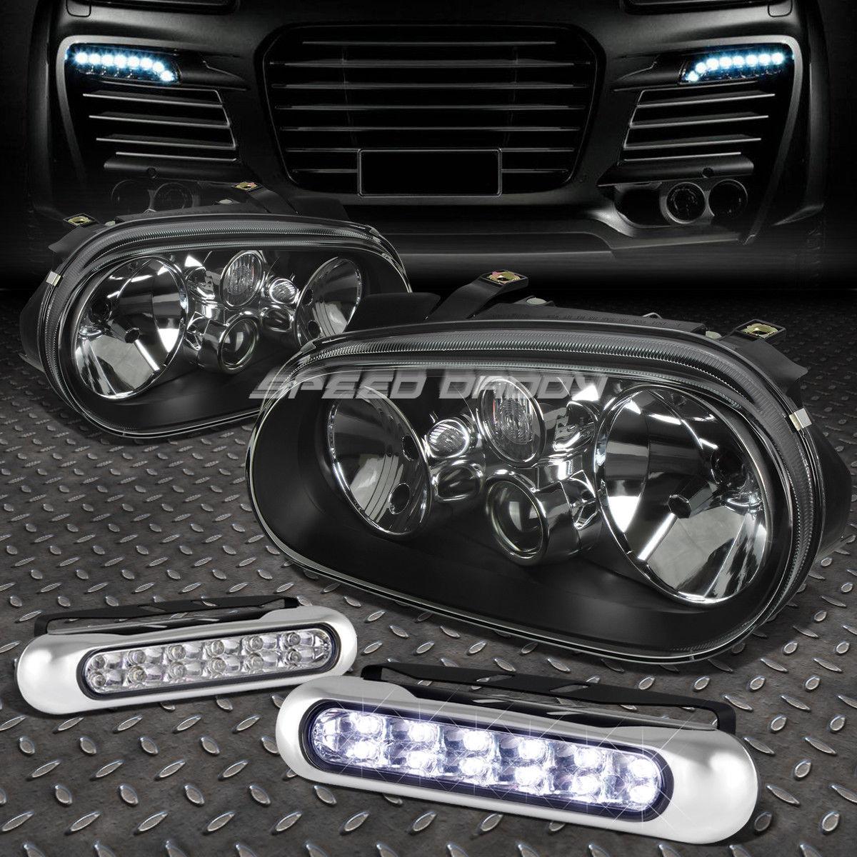 フォグライト BLACK HOUSING CLEAR LENS HEADLIGHT+12 LED GRILL FOG LIGHT FOR 99-06 GOLF MK4 ブラックハウジングクリアレンズヘッドライト+ 99-06ゴルフMK4用12グリルフォグライト