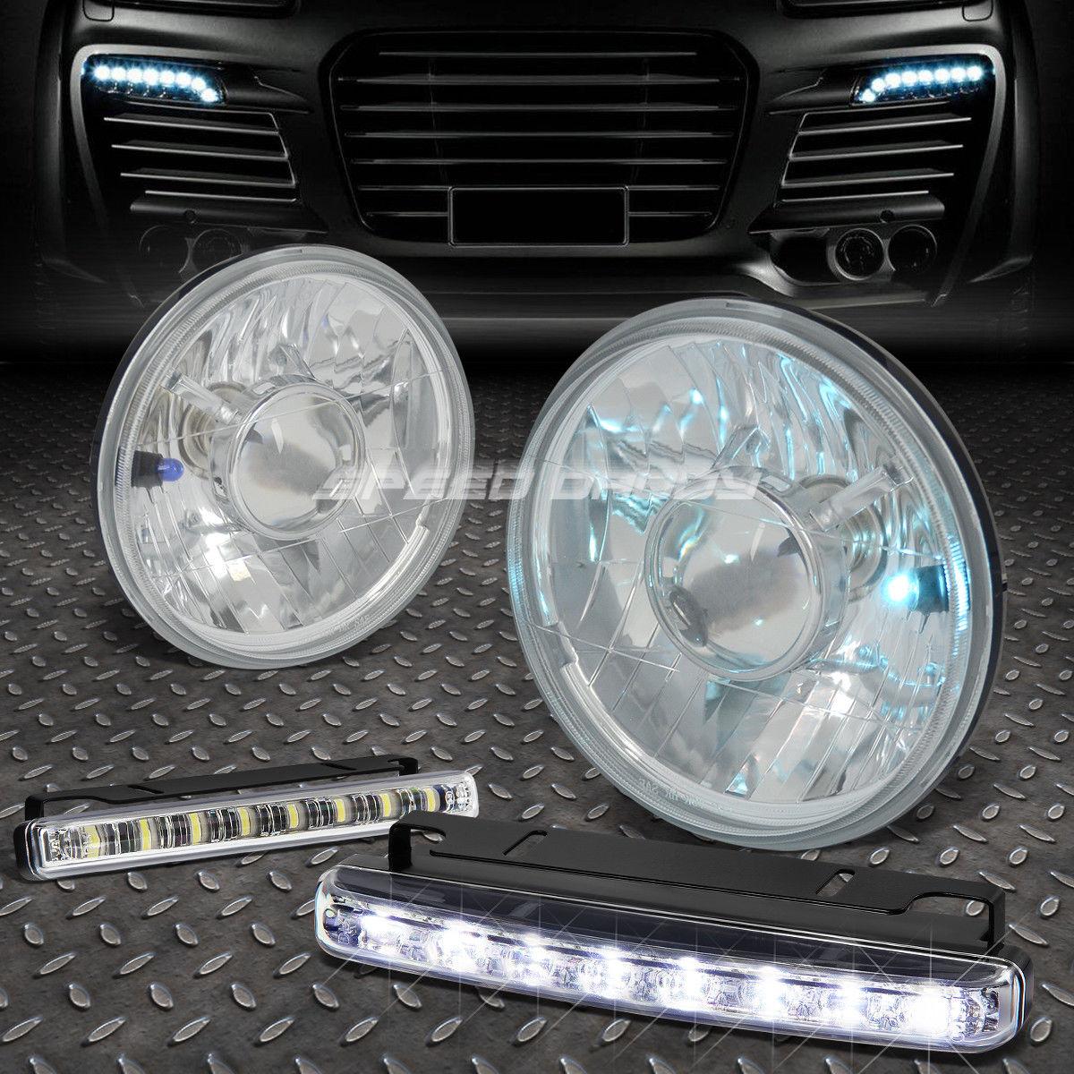 フォグライト ROUND CLEAR PROJECTOR HEADLIGHT+8 LED GRILL FOG LIGHT FOR 7