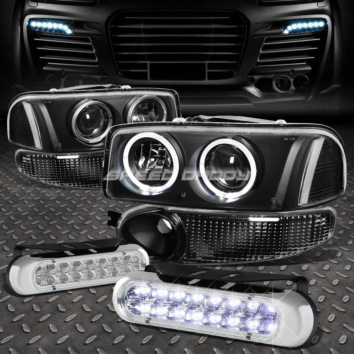 フォグライト BLACK CLEAR PROJECTOR HEADLIGHT+16 LED GRILL FOG LIGHT FOR 00-07 SIERRA/YUKON ブラッククリアプロジェクターヘッドライト+ 00-07 SIERRA / YUKON用16 LEDグリルフォグライト