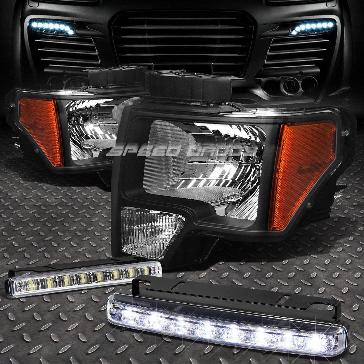 フォグライト BLACK HOUSING HEADLIGHT AMBER CORNER+8 LED GRILL FOG LIGHT FOR 09-14 FORD F150 ブラックハウジングヘッドライトアンバーコーナー+ 9-14フォードF150のための8つのLEDグリルフォグライト
