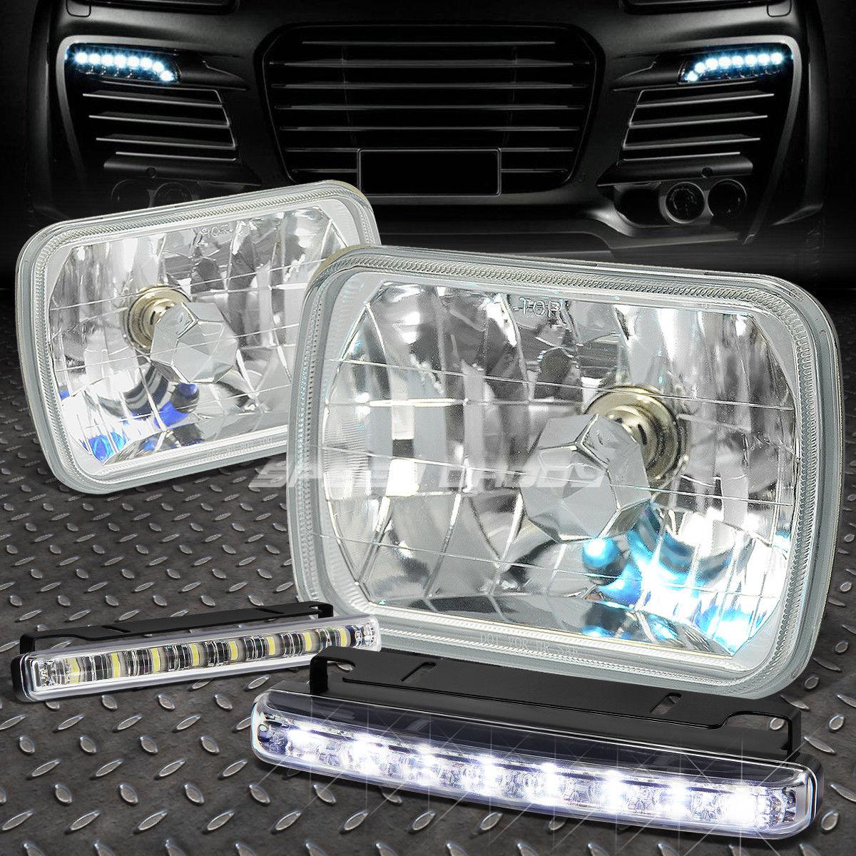 フォグライト CLEAR SQUARE DIAMOND PROJECTOR HEADLIGHT+8 LED GRILL FOG LIGHT FOR 7X6 H6054 クリアスクエアダイヤモンドプロジェクターヘッドライト+ 7X6 H6054用8 LEDグリルフォグライト