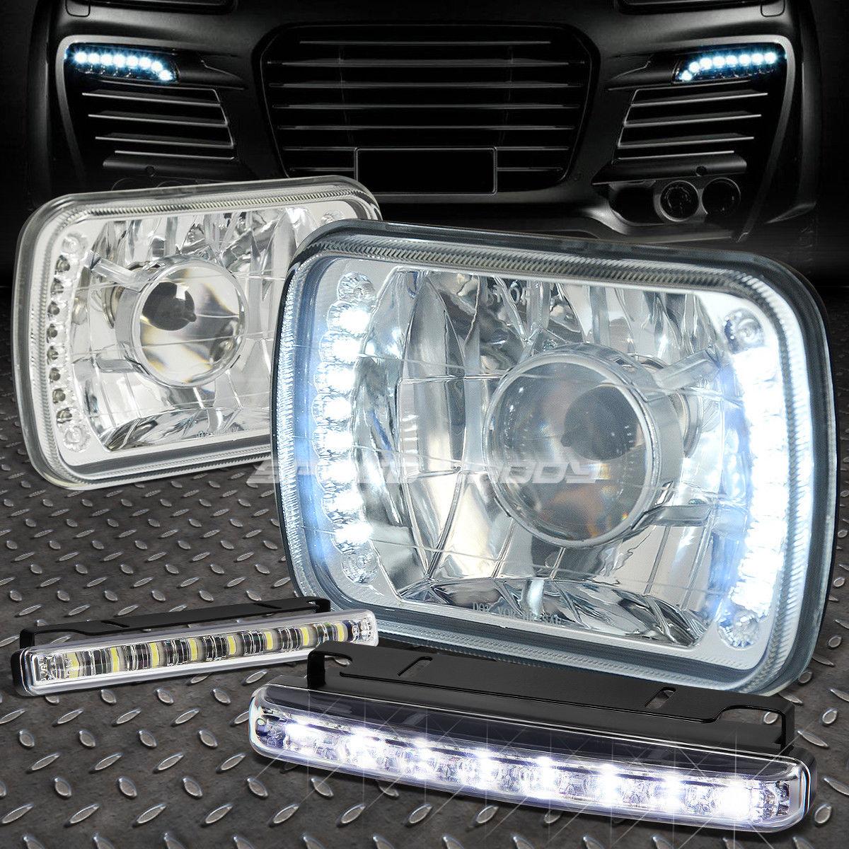 フォグライト SQUARE CHROME PROJECTOR LED HEADLIGHT+8 LED GRILL FOG LIGHT FOR H6014/H6054 スクウェア・クローム・プロジェクターLEDヘッドライト+ H6014 / H6054用8 LEDグリル・フォグライト