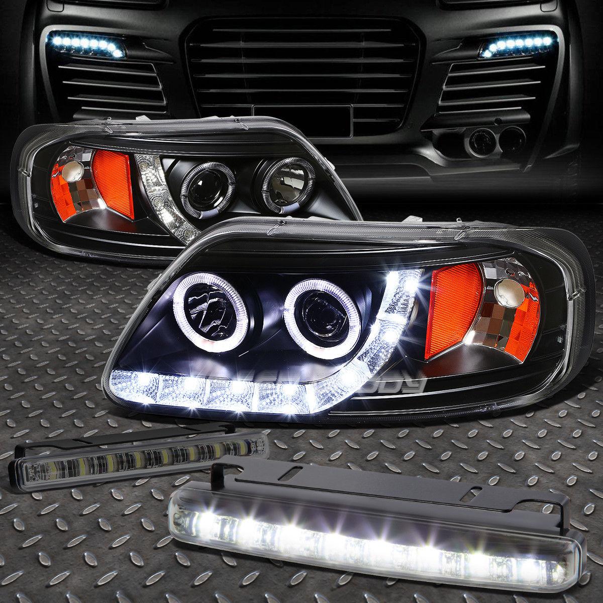 フォグライト BLACK AMBER HALO PROJECTOR 1PC HEADLIGHT+8 LED SMOKE FOG LIGHT FOR 97-03 F150 ブラックアンバーハロープロジェクター1PCヘッドライト+ 8 LED煙霧ライト97-03 F150用