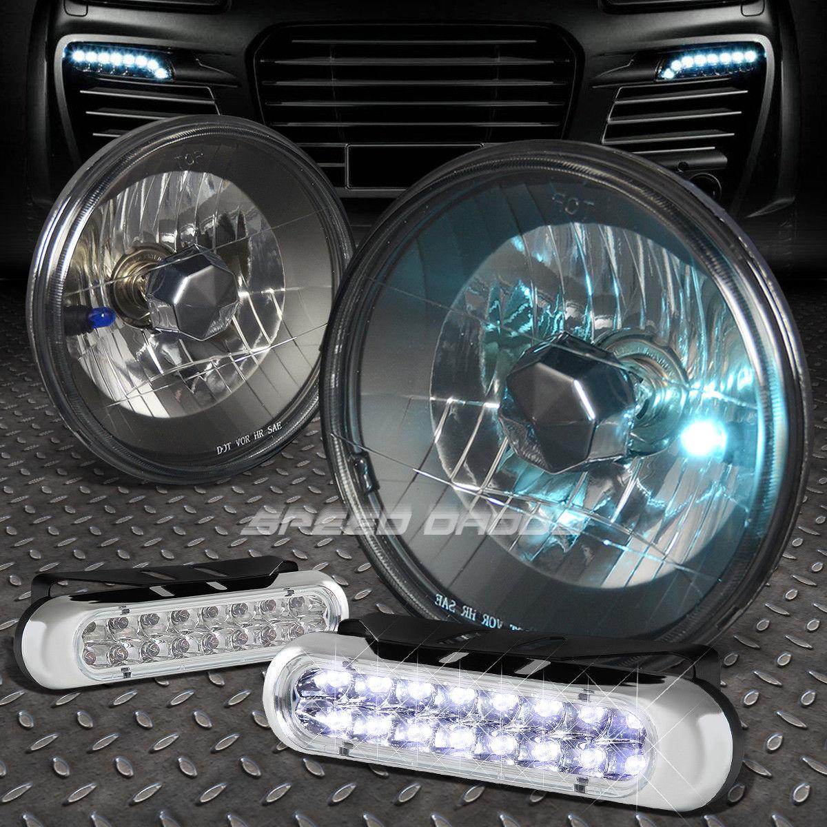 フォグライト 7x7 ROUND BLACK HOUSING HEADLIGHT+16 LED GRILL FOG LIGHT FOR DODGE CHARGER 7×7ブラックブラウンハウジングヘッドライト+ 16個のLEDグリッドフォグライトドッジチャージャー用