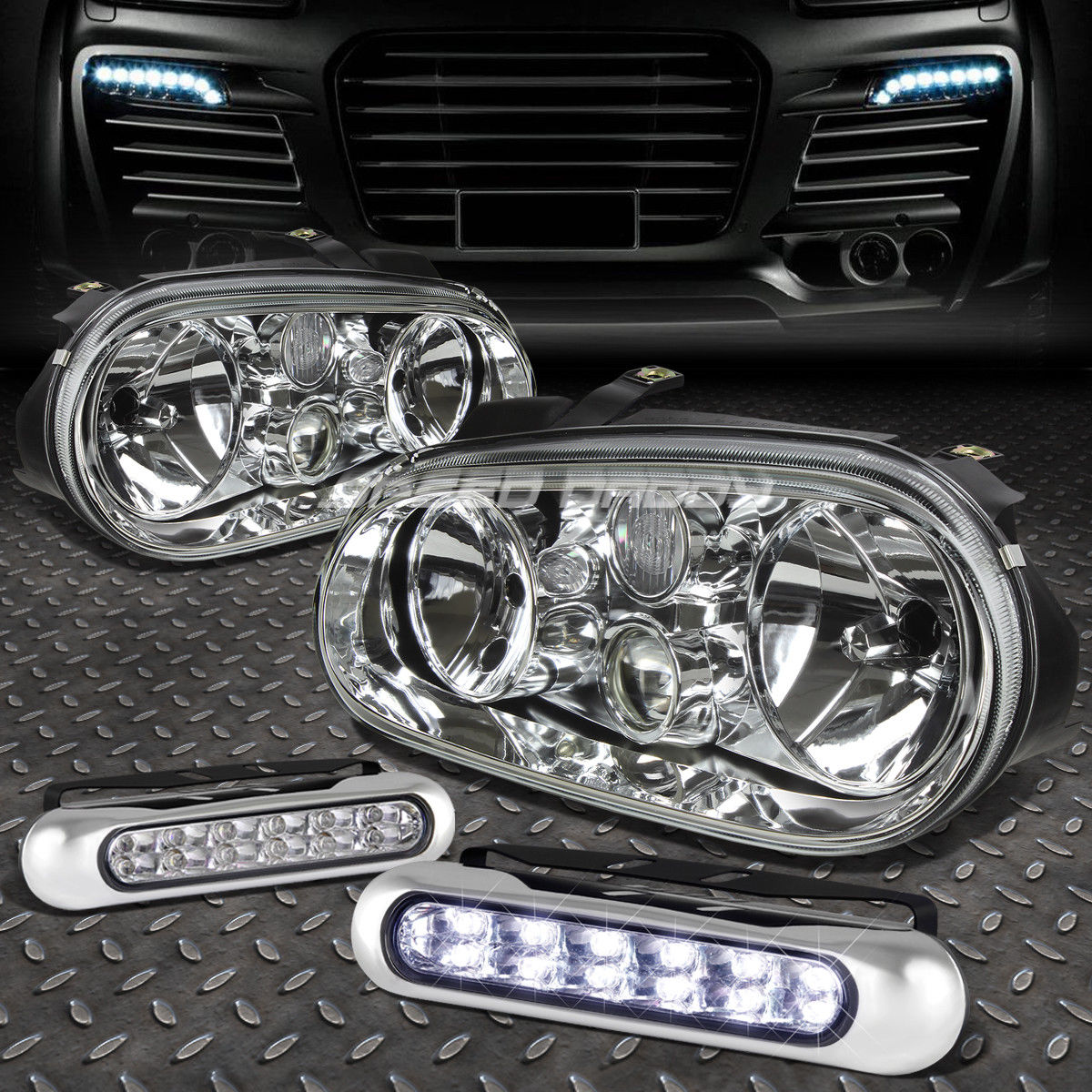 フォグライト CHROME HOUSING CLEAR LENS HEADLIGHT+12 LED GRILL FOG LIGHT FOR 99-06 GOLF MK4 CHROME HOUSING CLEAR LENS HEADLIGHT + 99-06ゴルフMK4用LEDグリルフォグライト
