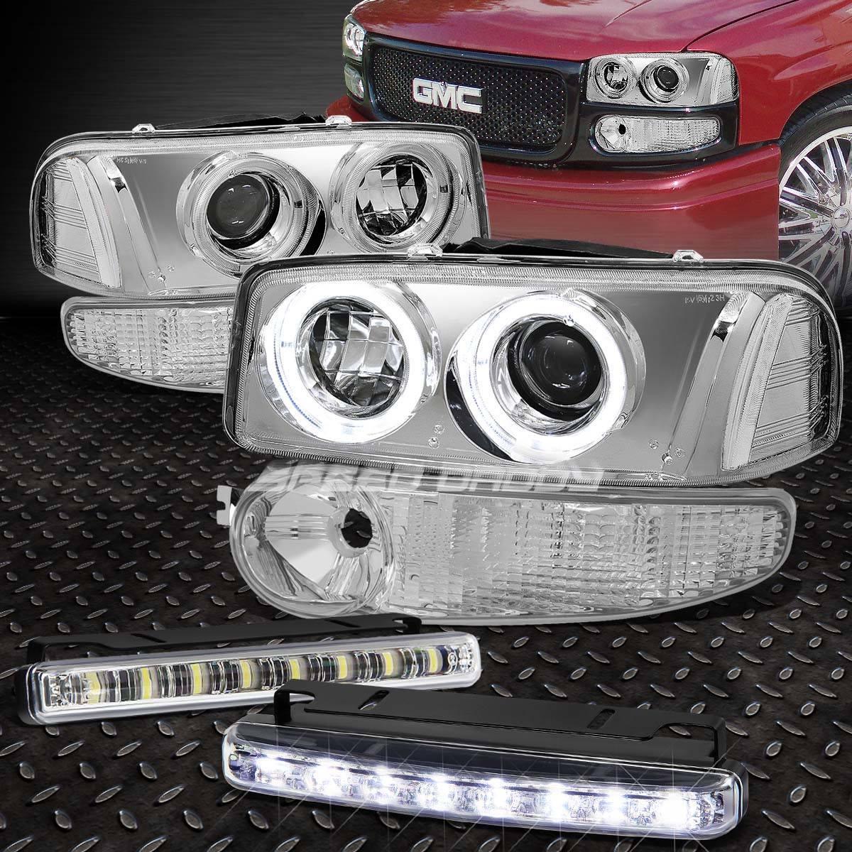 フォグライト CHROME/CLEAR DUAL HALO PROJECTOR HEADLIGHT+LED FOG LIGHT FOR 00-07 SIERRA DENALI クロム/クリアデュアルハロープロジェクターヘッドライト+ LED FOGライト00-07シエラデナリ