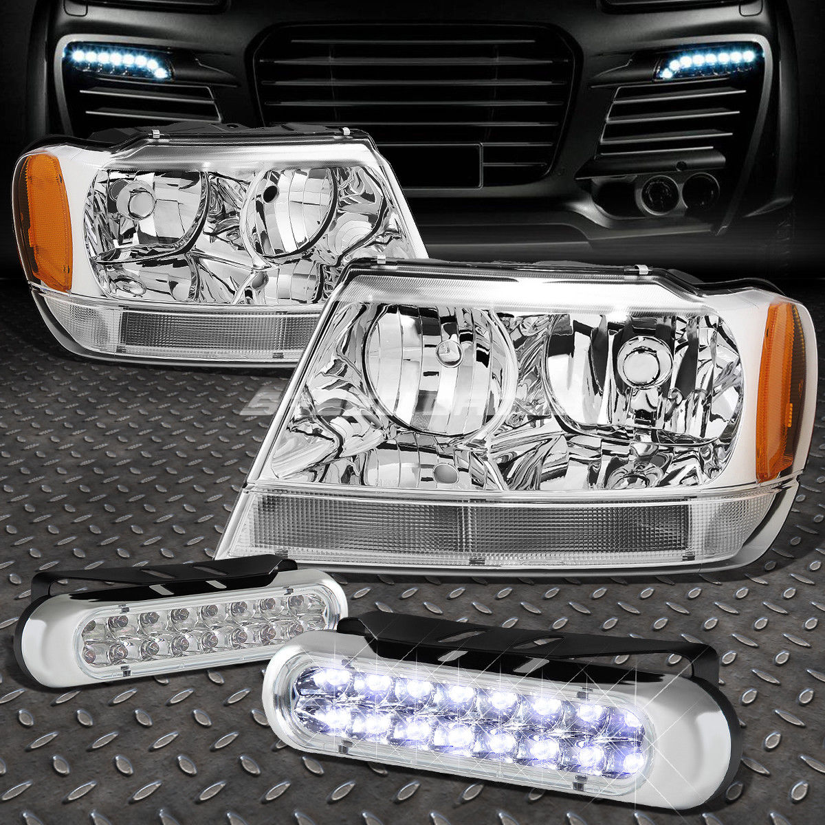 USフォグライト CHROME HEADLIGHT AMBER CORNER+16 LED GRILL FOG LIGHT FOR 99-04 GRAND CHEROKEE CHROME HEADLIGHT AMBER CORNER + 99-04 GRAND CHEROKEE用LEDグリルフォグライト16
