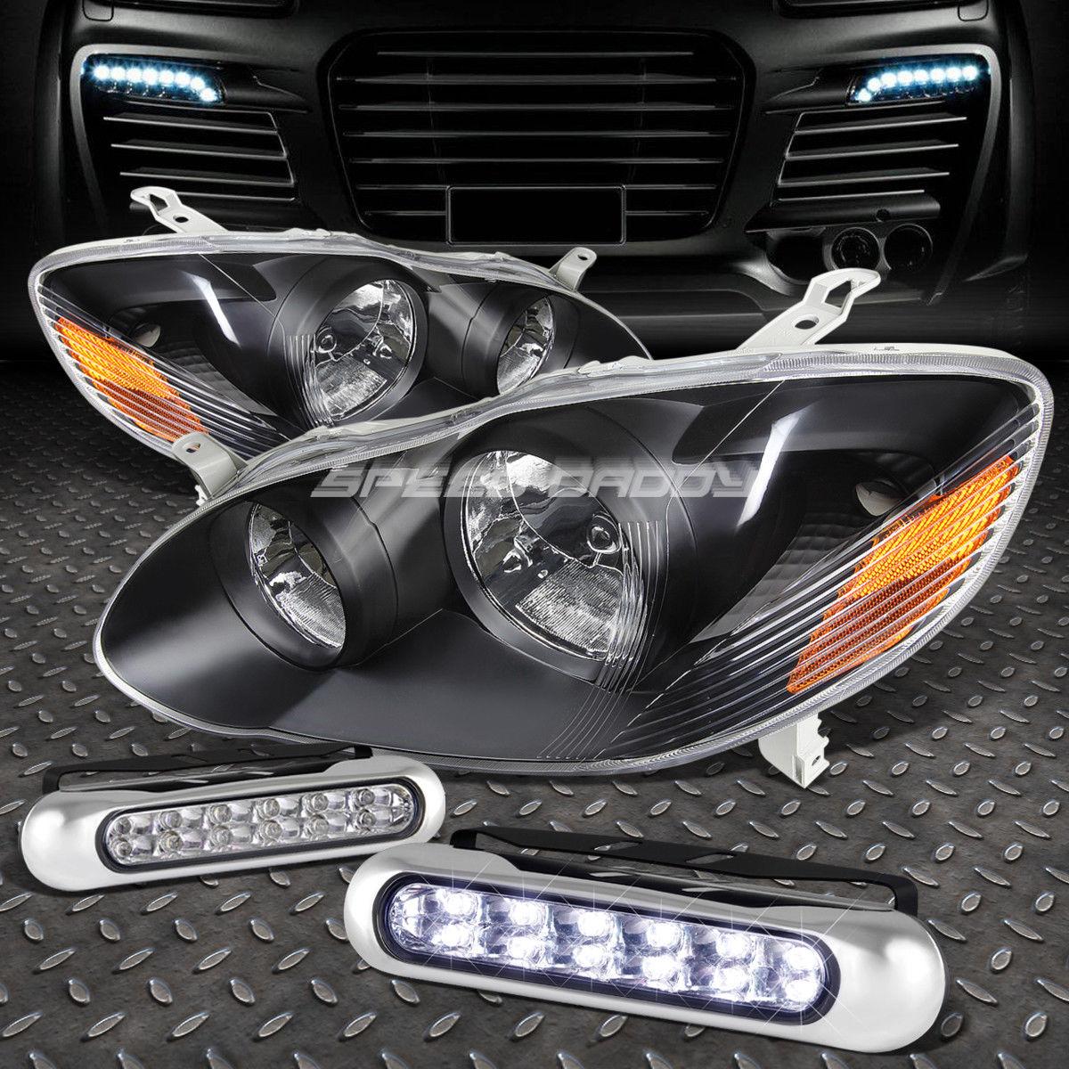 フォグライト BLACK LENS HEADLIGHT AMBER CORNER+12 LED GRILL FOG LIGHT FOR 03-08 COROLLA E120 ブラックレンズヘッドライトアンバーコーナー+ 03-08 COROLLA E120用LEDグリルフォグライト