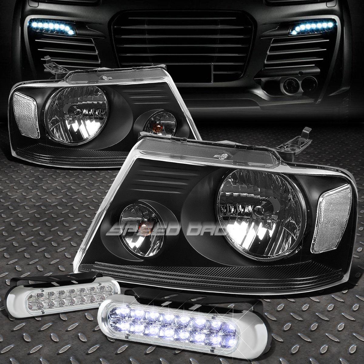 フォグライト BLACK HOUSING HEADLIGHT CLEAR CORNER+16 LED GRILL FOG LIGHT FOR 04-08 F150 ブラックハウジングヘッドライトクリアコーナー+ 04-08 F150用16グリルフォグライト