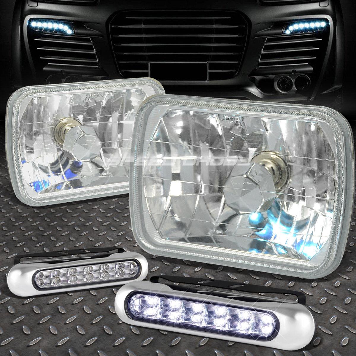 フォグライト SQUARE CLEAR HOUSING HEADLIGHT+12 LED GRILL FOG LIGHT FOR 7