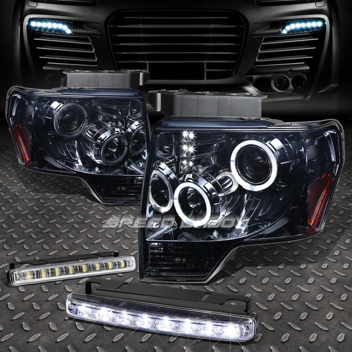 USフォグライト HALO PROJECTOR LED SMOKED HEADLIGHT+8 LED GRILL FOG LIGHT FOR 09-14 F150 PICKUP ハロープロジェクターLEDヘッドライト+ 9-14 F150ピックアップ用8 LEDグリルフォグライト