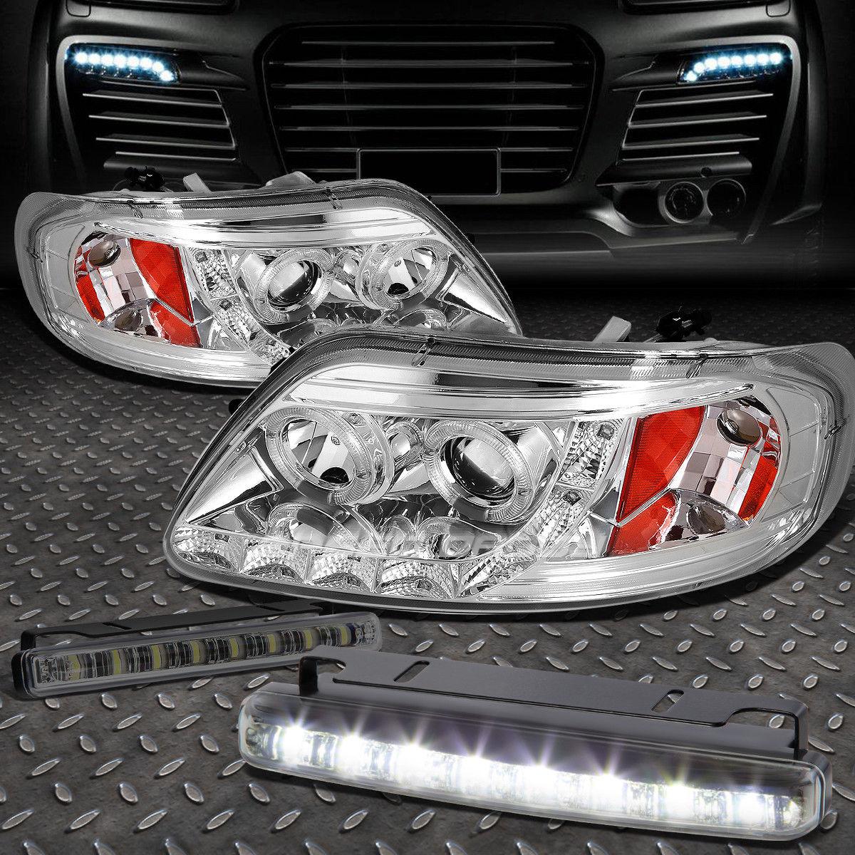 フォグライト CHROME AMBER HALO PROJECTOR 1PC HEADLIGHT+8 LED SMOKE FOG LIGHT FOR 97-03 F150 CHROME AMBERハロープロジェクター1PCヘッドライト+ 8 LED SMOKE FOGライトfor 97-03 F150