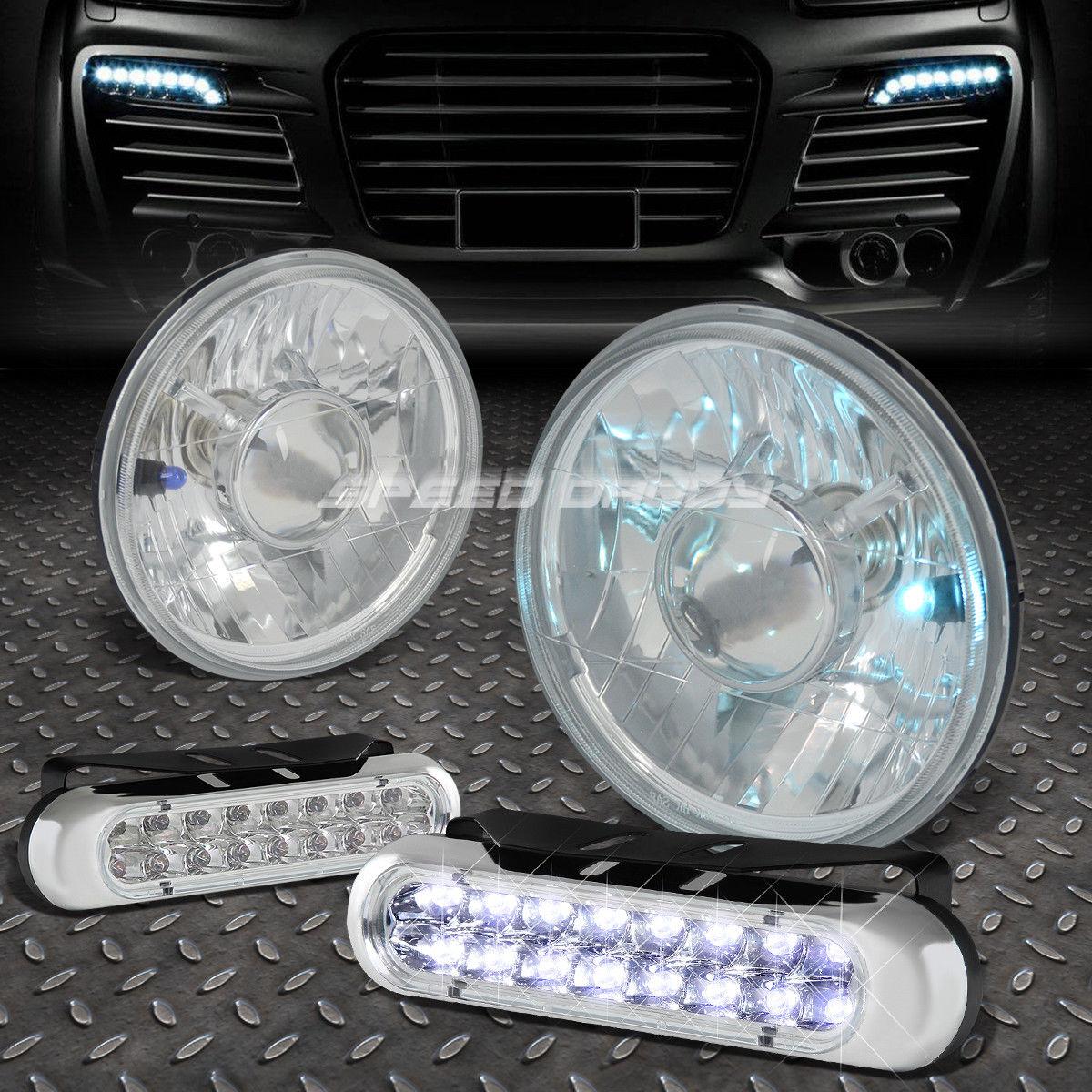 フォグライト ROUND CLEAR PROJECTOR HEADLIGHT+16 LED GRILL FOG LIGHT FOR 7
