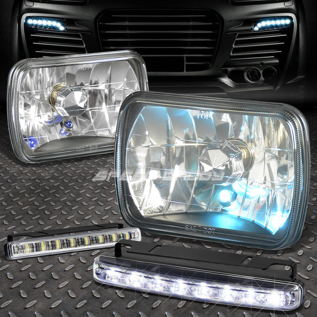 フォグライト 7x6 SQUARE BLACK HEADLIGHT+BLUE DOT LAMPS FOR+8 LED GRILL FOG LIGHT FORD/CHEVY 7×6スクエアブラックヘッドライト+ブルードットランプ+ 8 LEDグリルフォグライトフォード/チェビー