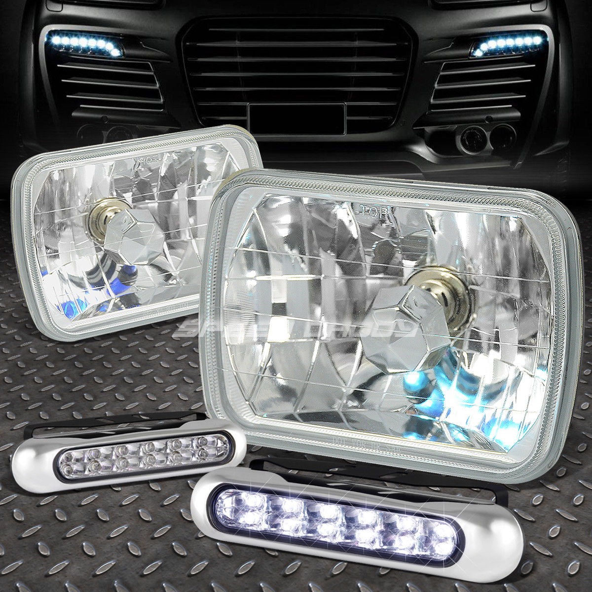 フォグライト 7x6 H6014 SQUARE CHROME HOUSING HEADLIGHT+12 LED GRILL FOG LIGHT FOR HONDA 7x6 H6014スクエアクロームハウジングヘッドライト+ホンダ用12グリッドフォグライト