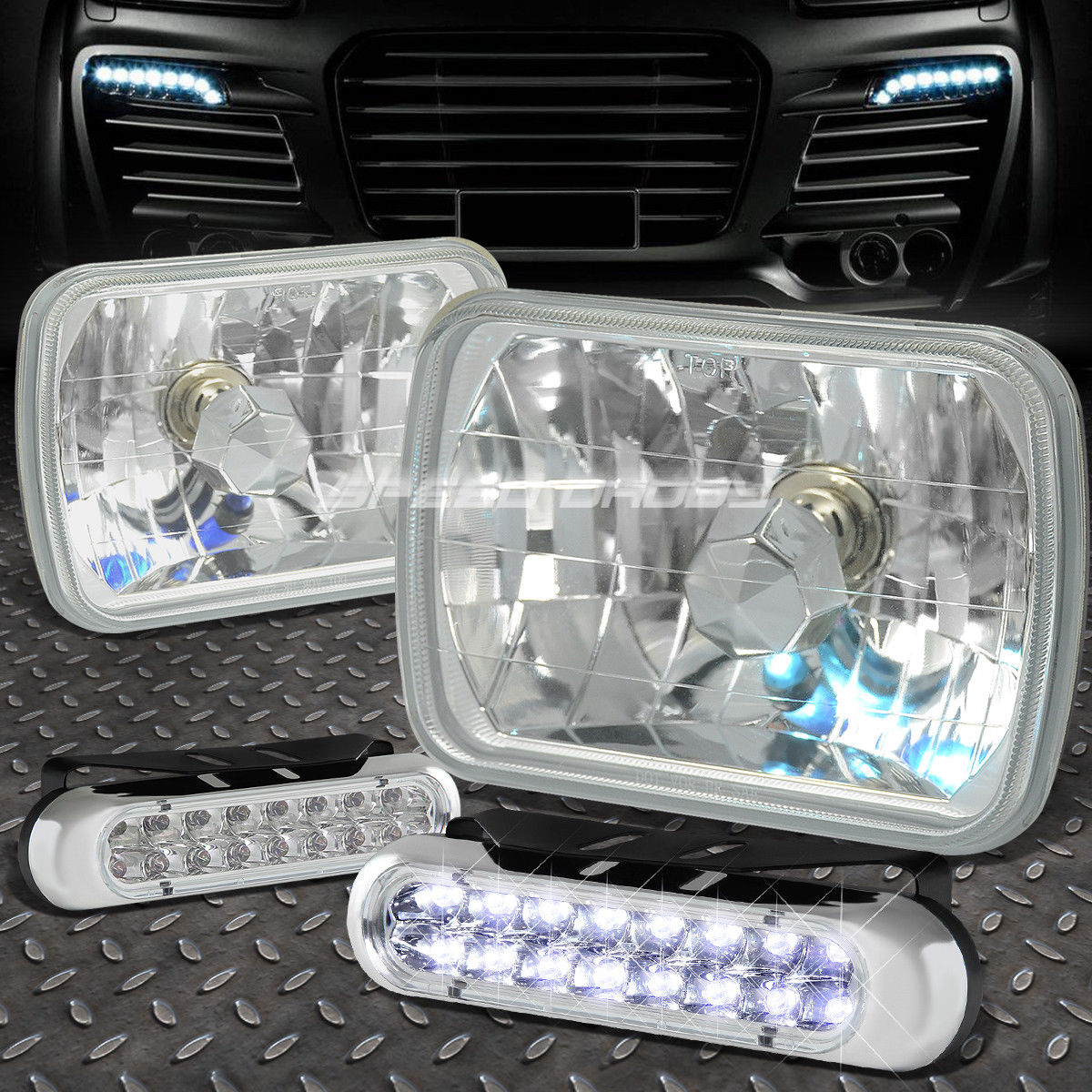 フォグライト SQUARE CLEAR HOUSING HEADLIGHT+16 LED GRILL FOG LIGHT FOR 7