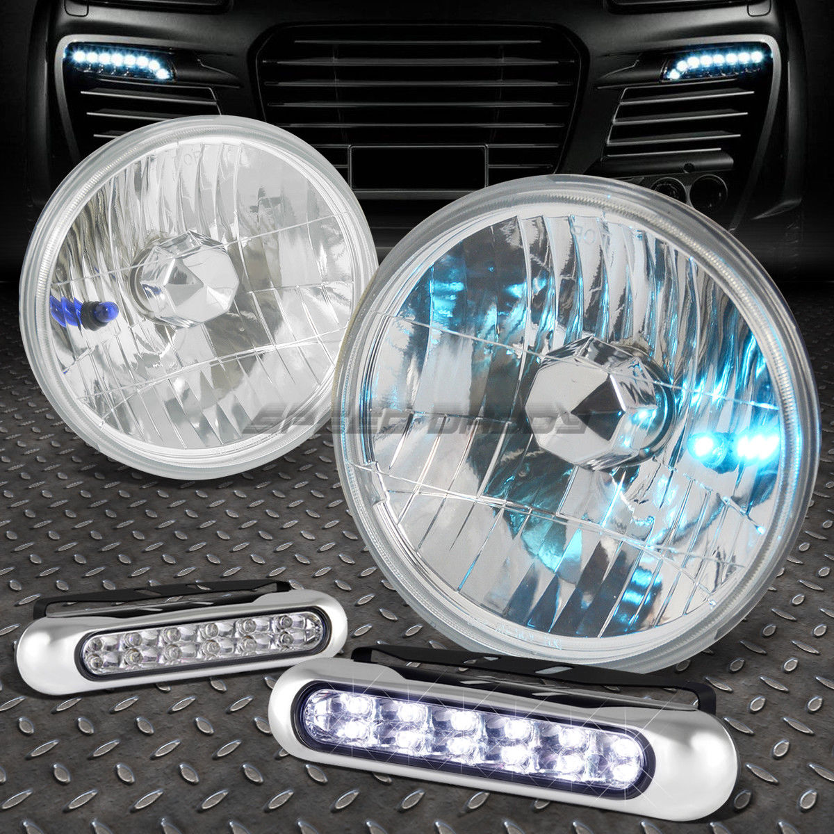 フォグライト 7x7 ROUND CHROME HOUSING HEADLIGHT+12 LED GRILL FOG LIGHT FOR CHEVY SILVERADO 7x7 ROUND CHROME HOUSINGヘッドライト+ CHEVY SILVERADO用12 LEDグリルフォグライト
