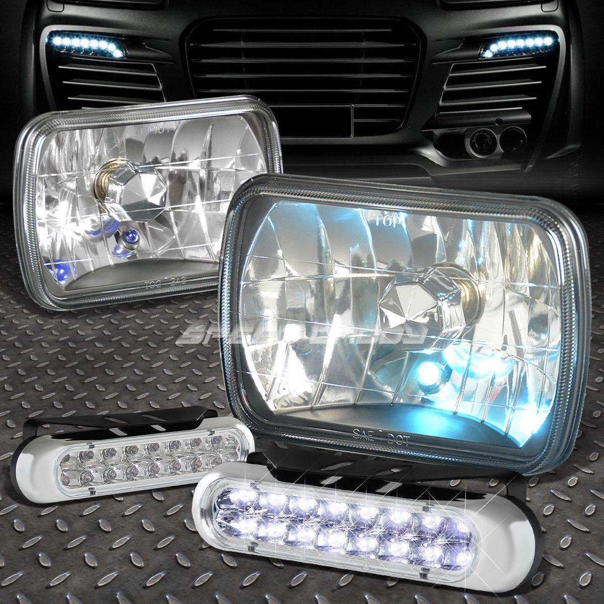 フォグライト 7x6 SQUARE BLACK HEADLIGHT+BLUE DOT LAMPS FOR+16 LED GRILL FOG LIGHT FORD/CHEVY 7×6スクエアブラックヘッドライト+ブルードットランプ+ 16 LEDグリルフォグライトフォード/チェビー