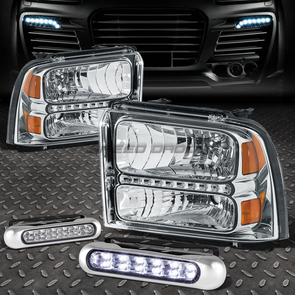 フォグライト CHROME HOUSING LED HEADLIGHT+12 LED GRILL FOG LIGHT FOR 05-07 F250/F350/F450 CHROME HOUSING LEDヘッドライト+ 05グリルフォグライト05-07 F250 / F350 / F450用