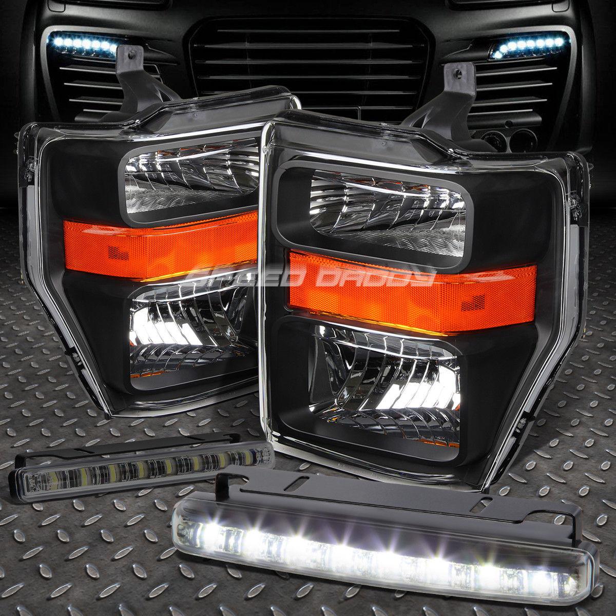 フォグライト BLACK HOUSING HEADLIGHT AMBER CORNER+8 LED SMOKE FOG LIGHT FOR 08-10 SUPERDUTY ブラックハウスヘッドライトアバナーコーナー+ 8-10 SMOKE FOGライト08-10スーパーライト