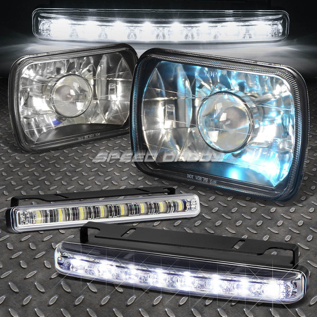 フォグライト 7x6 H6014 SQUARE PROJECTOR BLACK HOUSING HEADLIGHT+H4 HALOGEN BULB+LED FOG LIGHT 7x6 H6014スクエアプロジェクターブラックハウジングヘッドライト+ H4ハロゲンバルブ+ LEDフォグライト
