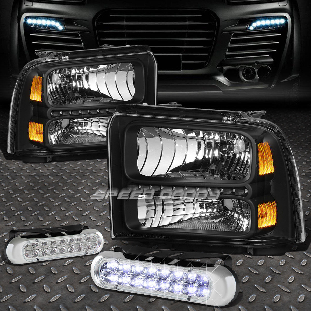 フォグライト BLACK HOUSING LED HEADLIGHT+16 LED GRILL FOG LIGHT FOR 05-07 F250/F350/F450 BLACK HOUSING LEDヘッドライト+ 05-07 F250 / F350 / F450用16 LEDグリルフォグライト