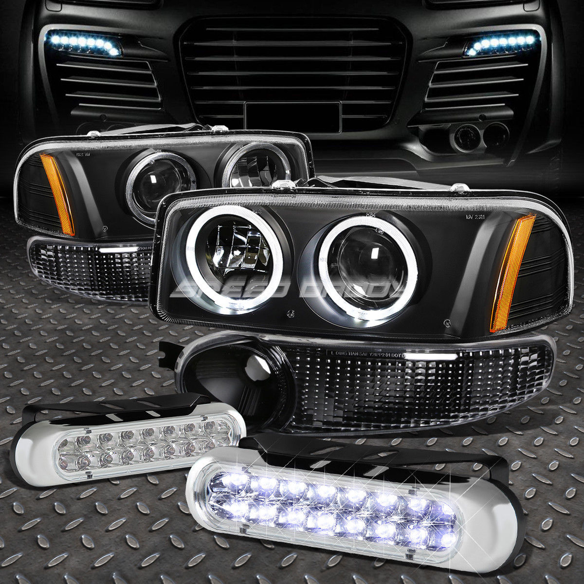 フォグライト BLACK AMBER PROJECTOR HEADLIGHT+16 LED GRILL FOG LIGHT FOR 00-07 SIERRA/YUKON ブラックアンバープロジェクターヘッドライト+ 00-07シエラ/ユコノン用LEDグリルフォグライト16