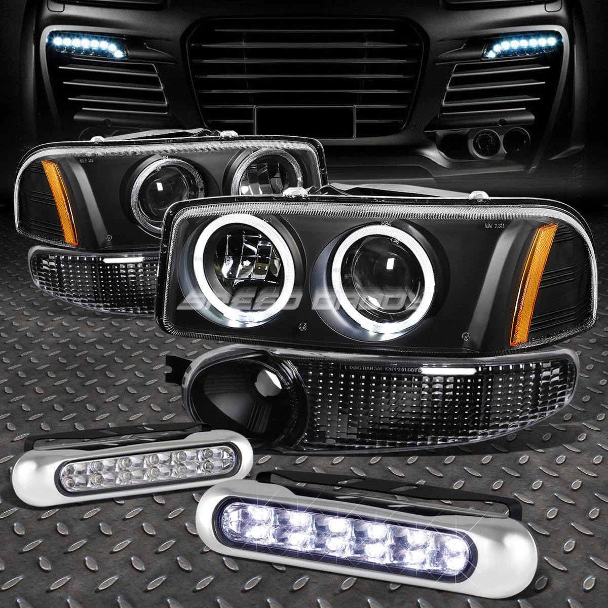 フォグライト BLACK AMBER PROJECTOR HEADLIGHT+12 LED GRILL FOG LIGHT FOR 00-07 SIERRA/YUKON ブラックアンバープロジェクターヘッドライト+ 00-07 SIERRA / YUKON用LEDグリルフォグライト12