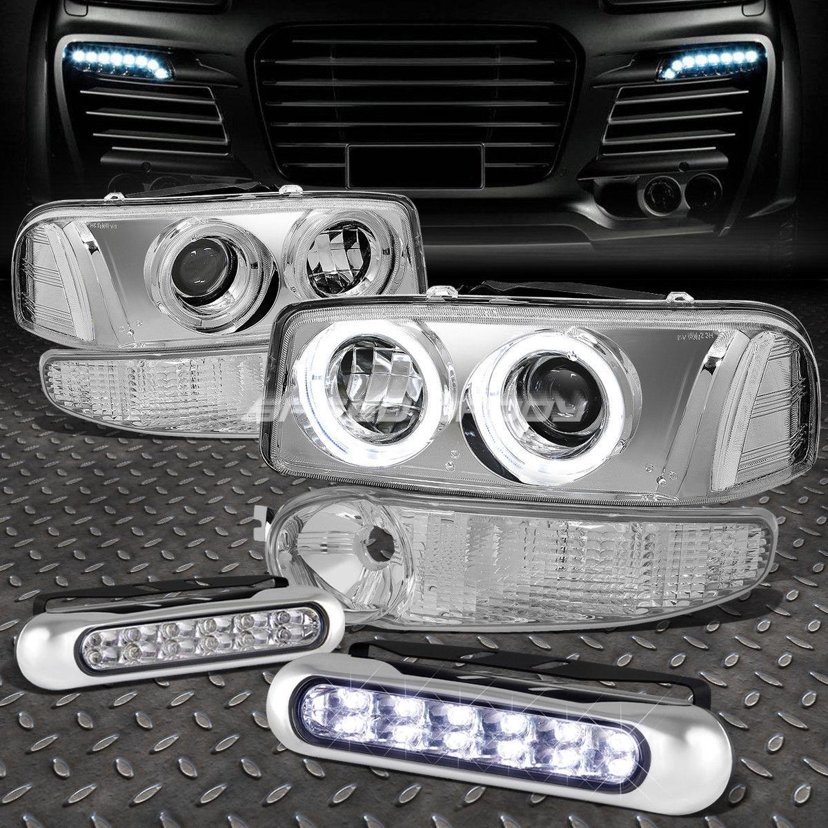 フォグライト CHROME CLEAR PROJECTOR HEADLIGHT+12 LED GRILL FOG LIGHT FOR 00-07 SIERRA/YUKON CHROME CLEAR PROJECTOR HEADLIGHT + 00-07 SIERRA / YUKON用LEDグリルフォグライト