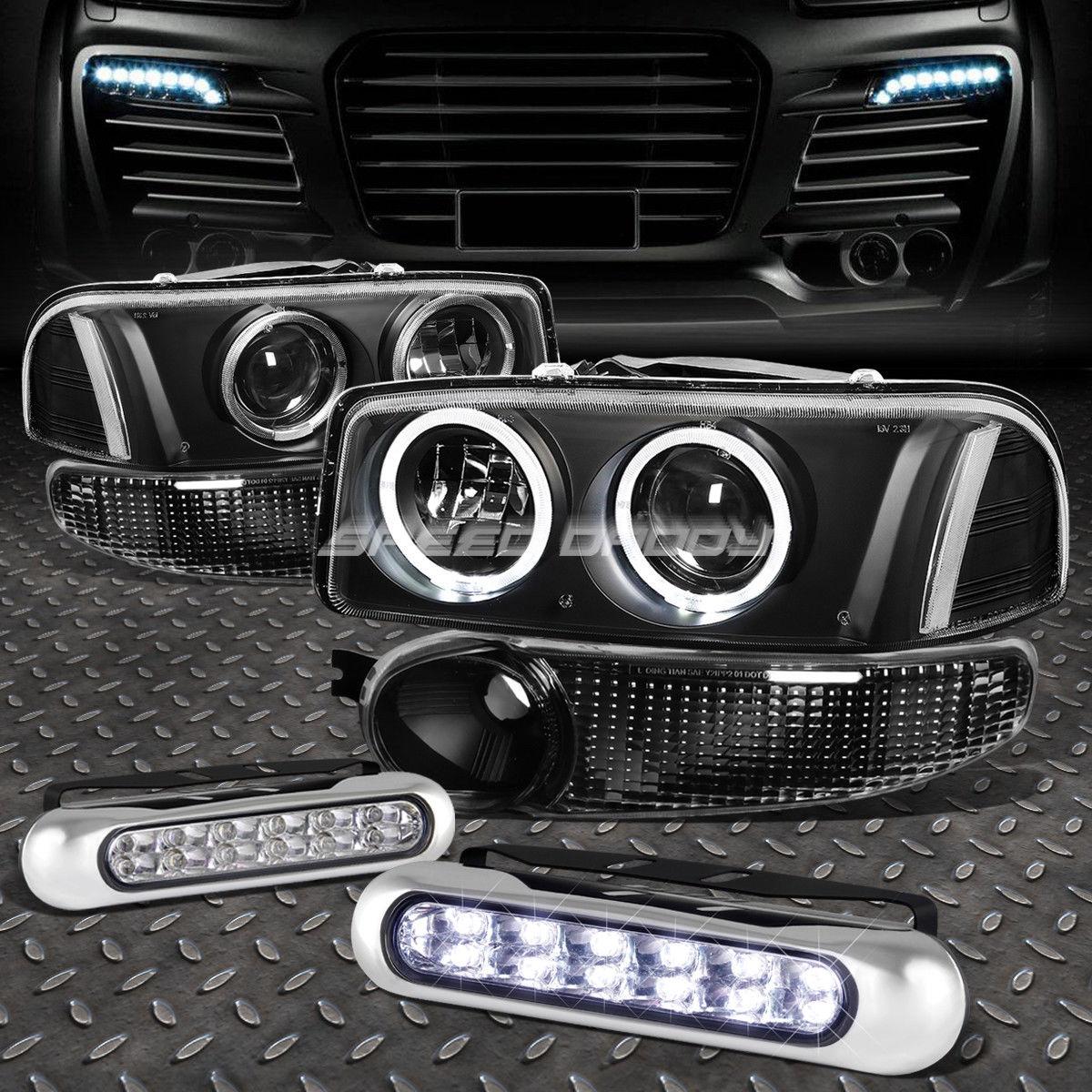 フォグライト BLACK CLEAR PROJECTOR HEADLIGHT+12 LED GRILL FOG LIGHT FOR 00-07 SIERRA/YUKON ブラッククリアプロジェクターヘッドライト+ 00-07 SIERRA / YUKON用LEDグリルフォグライト12