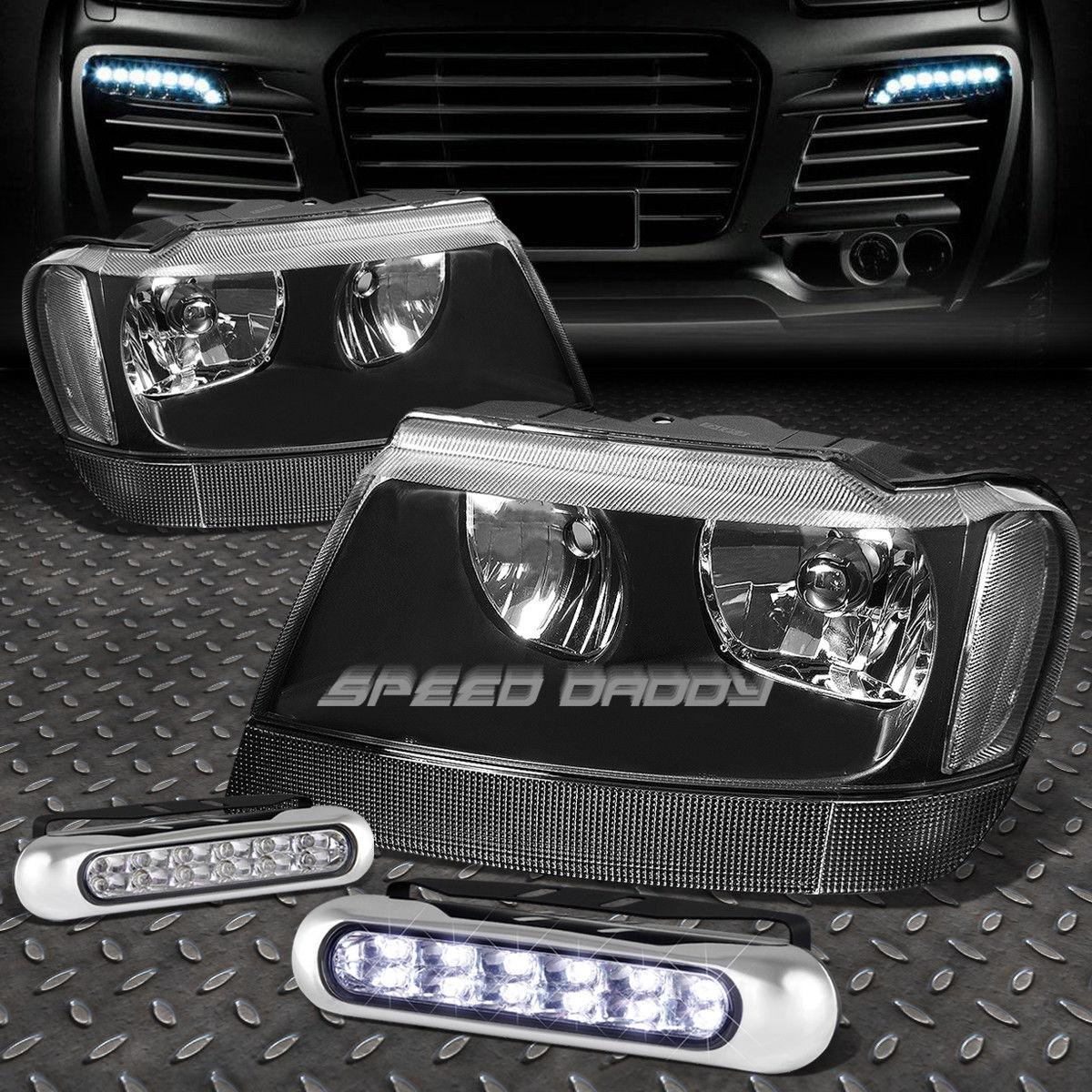 フォグライト BLACK HOUSING HEADLIGHT CLEAR CORNER+12 LED GRILL FOG LIGHT FOR 99-04 CHEROKEE ブラックハウジングヘッドライトクリアコーナー+ 99-04チェロキー用12グリルフォグライト