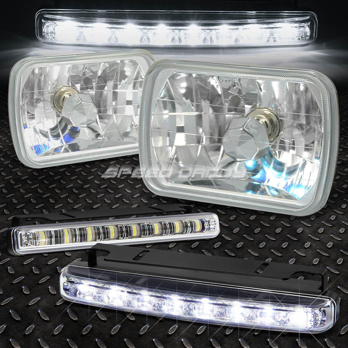 フォグライト 7x6 H6014 DIAMOND CUT SQUARE CHROME CRYSTAL SEMI-SEALED HEAD LIGHT+BULB+LED FOG 7x6 H6014ダイヤモンドカットスクエアクロームクリスタル半密閉ヘッドライト+ BULB + LED FOG