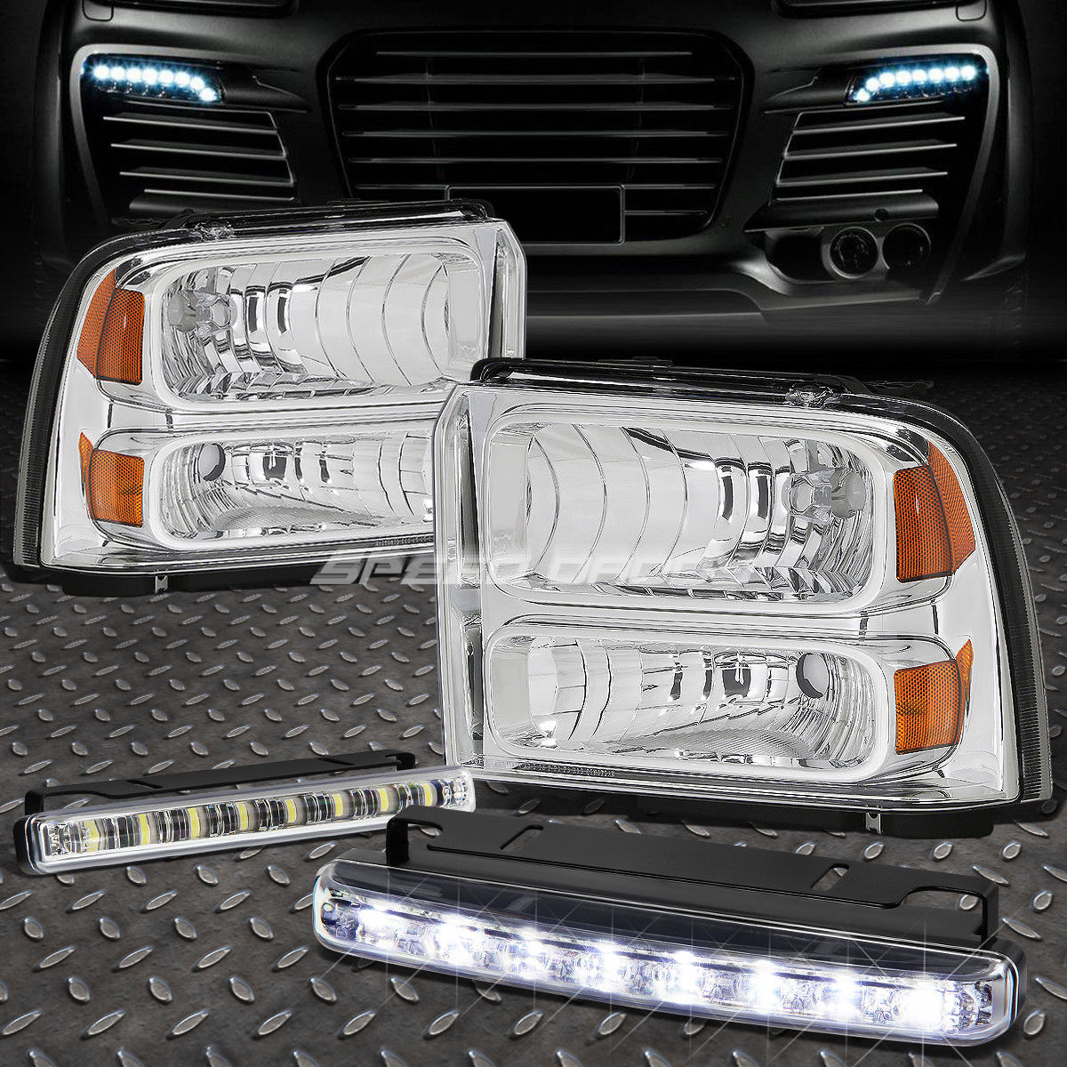 フォグライト CHROME LENS HEADLIGHT AMBER CORNER+8 LED GRILL FOG LIGHT FOR 05-07 SUPERDUTY CHROME LENS HEADLIGHTアンバーコーナー+ 05-07スーパーライト用8 LEDグリルフォグライト
