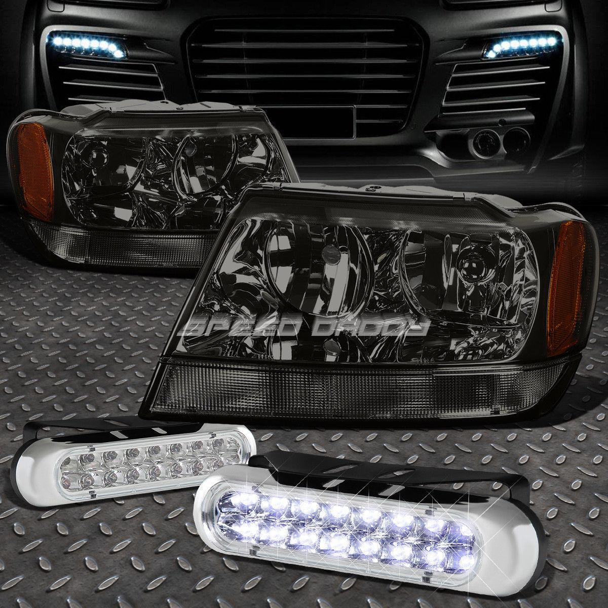 フォグライト SMOKED HEADLIGHT AMBER CORNER+16 LED GRILL FOG LIGHT FOR 99-04 GRAND CHEROKEE ソーラーヘッドライトアブソルートコーナー+ LEDヘッドライトグリル