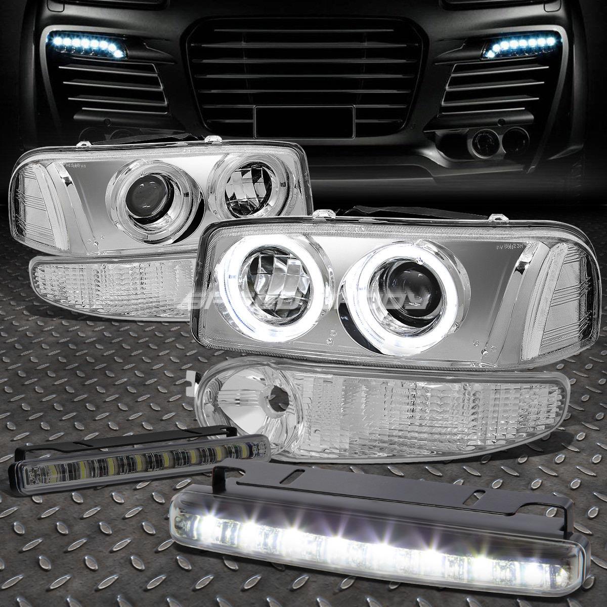 フォグライト CHROME CLEAR PROJECTOR HEADLIGHT+8 LED SMOKE FOG LIGHT FOR 00-07 SIERRA/YUKON CHROME CLEAR PROJECTOR HEADLIGHT + 00 - SIERRA / YUKONのための8 LED SMOKE FOGライト