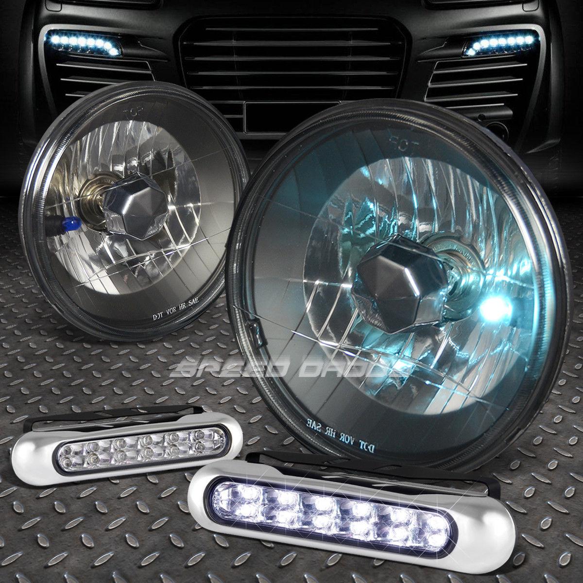 フォグライト 7x7 ROUND BLACK HOUSING HEADLIGHT+12 LED GRILL FOG LIGHT FOR DODGE CHARGER 7×7丸型ブラックヘッドライト+ 12個のLEDグリッドフォグライト用ドッジチャージャー