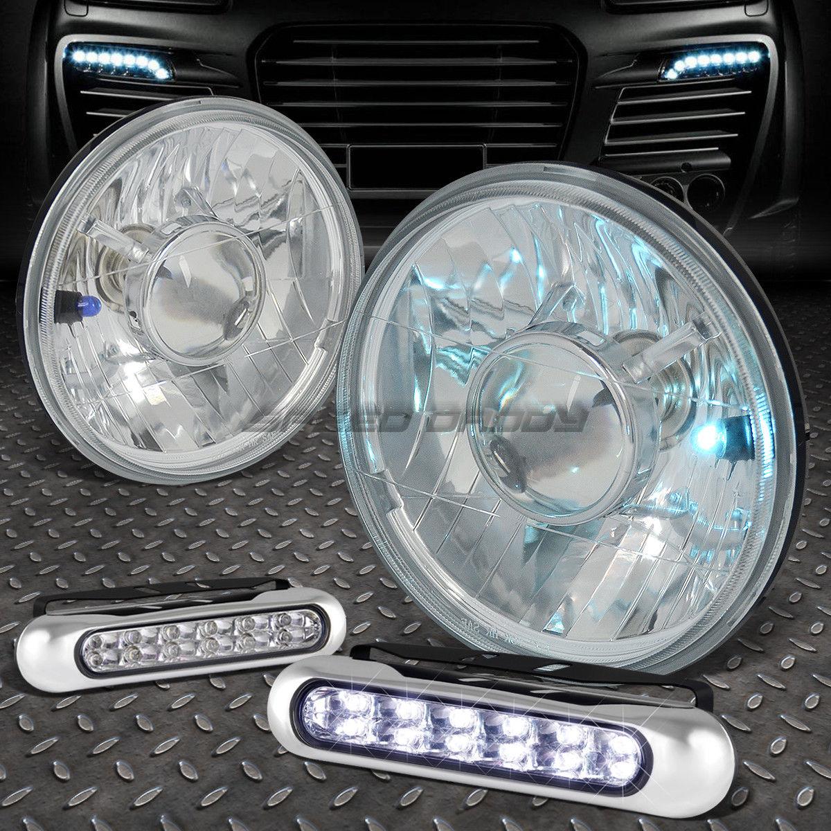 フォグライト WHITE ROUND DIAMOND PROJECTOR HEADLIGHT+12 LED GRILL FOG LIGHT FOR 7