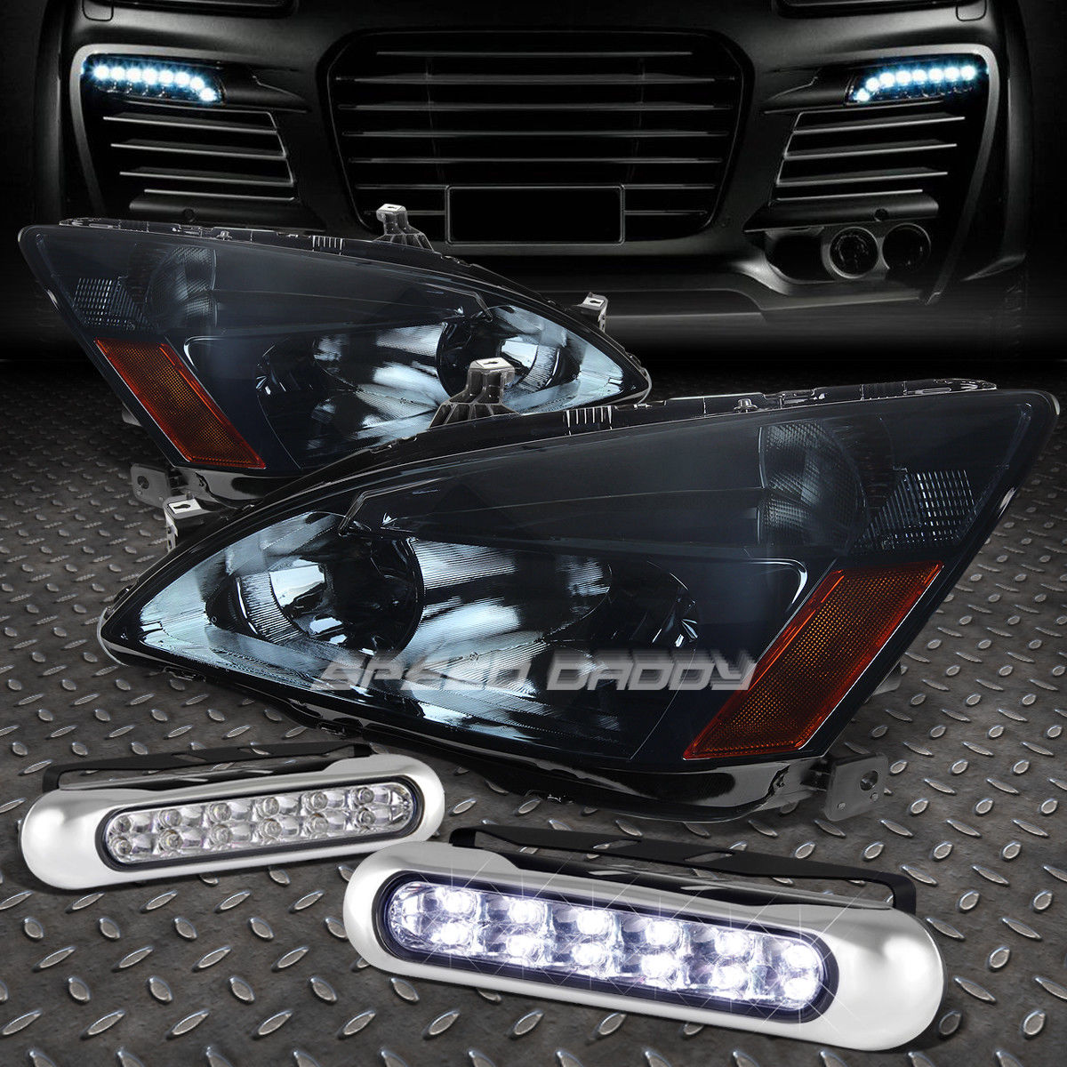 フォグライト SMOKED HOUSING HEADLIGHT AMBER CORNER+12 LED GRILL FOG LIGHT FOR 03-07 ACCORD SMOKED HOUSING HEADLIGHTアンバーコーナー+ 03-07アコーディオン用LEDグリルフォグライト
