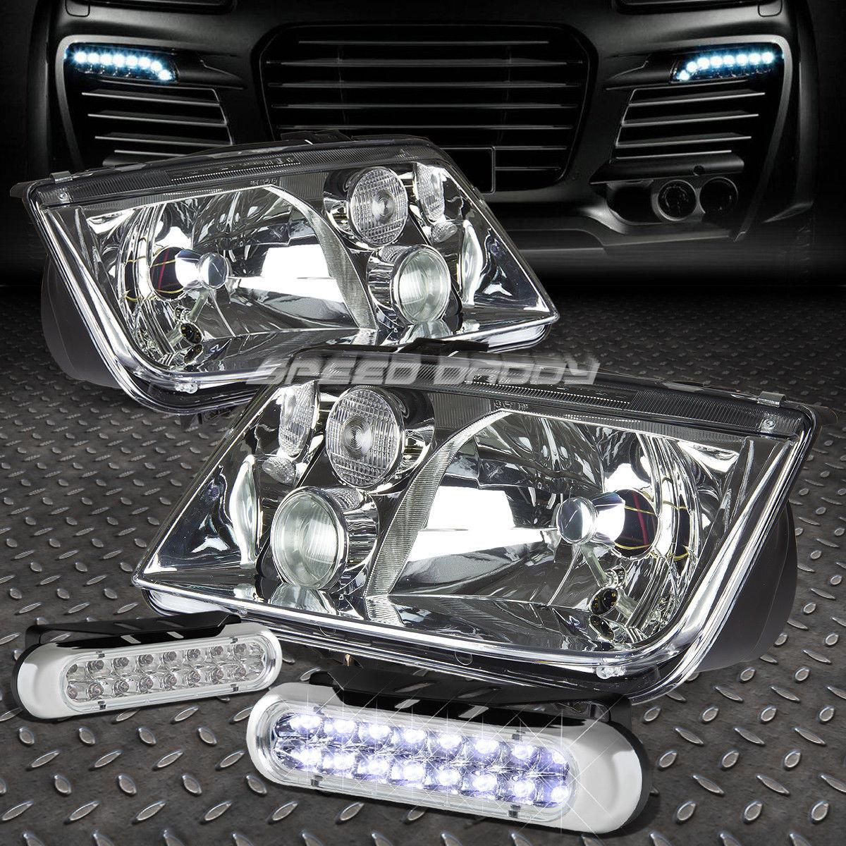フォグライト CHROME HOUSING HEADLIGHT LAMP+16 LED GRILL FOG LIGHT FOR 99-05 VW JETTA/BORA CHROME HOUSING HEADLIGHT LAMP + JETTA / BORA 99-05 VW用16グリルフォグライト