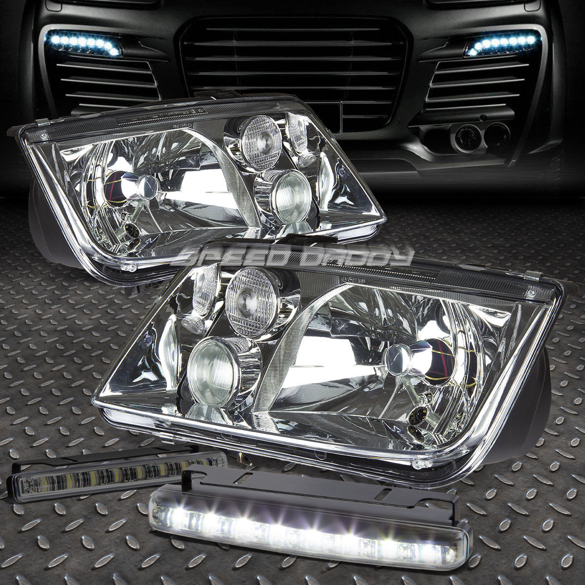 フォグライト CHROME HOUSING HEADLIGHT LAMP+8 LED SMOKE FOG LIGHT FOR 99-05 VW JETTA/BORA CHROME HOUSING HEADLIGHT LAMP + 99-05 VW JETTA / BORAのための8個のLED煙霧ライト