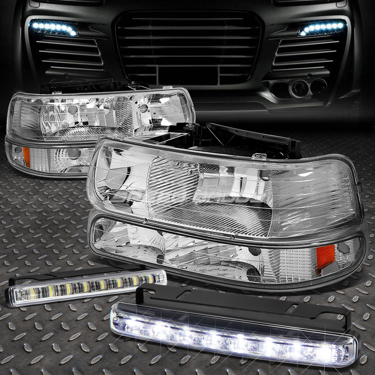 フォグライト CHROME HOUSING AMBER SIGNAL HEADLIGHT+8 LED GRILL FOG LIGHT FOR 99-02 SILVERADO CHROME HOUSINGアンバーシグナルヘッドライト+ 99-02 SILVERADO用8 LEDグリルフォグライト