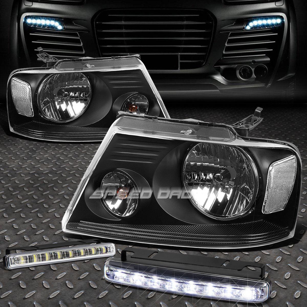フォグライト BLACK HOUSING HEADLIGHT CLEAR CORNER+8 LED GRILL FOG LIGHT FOR 04-08 F150 ブラックハウジングヘッドライトクリアコーナー+ 8-8グリルフォグライト04-08 F150用