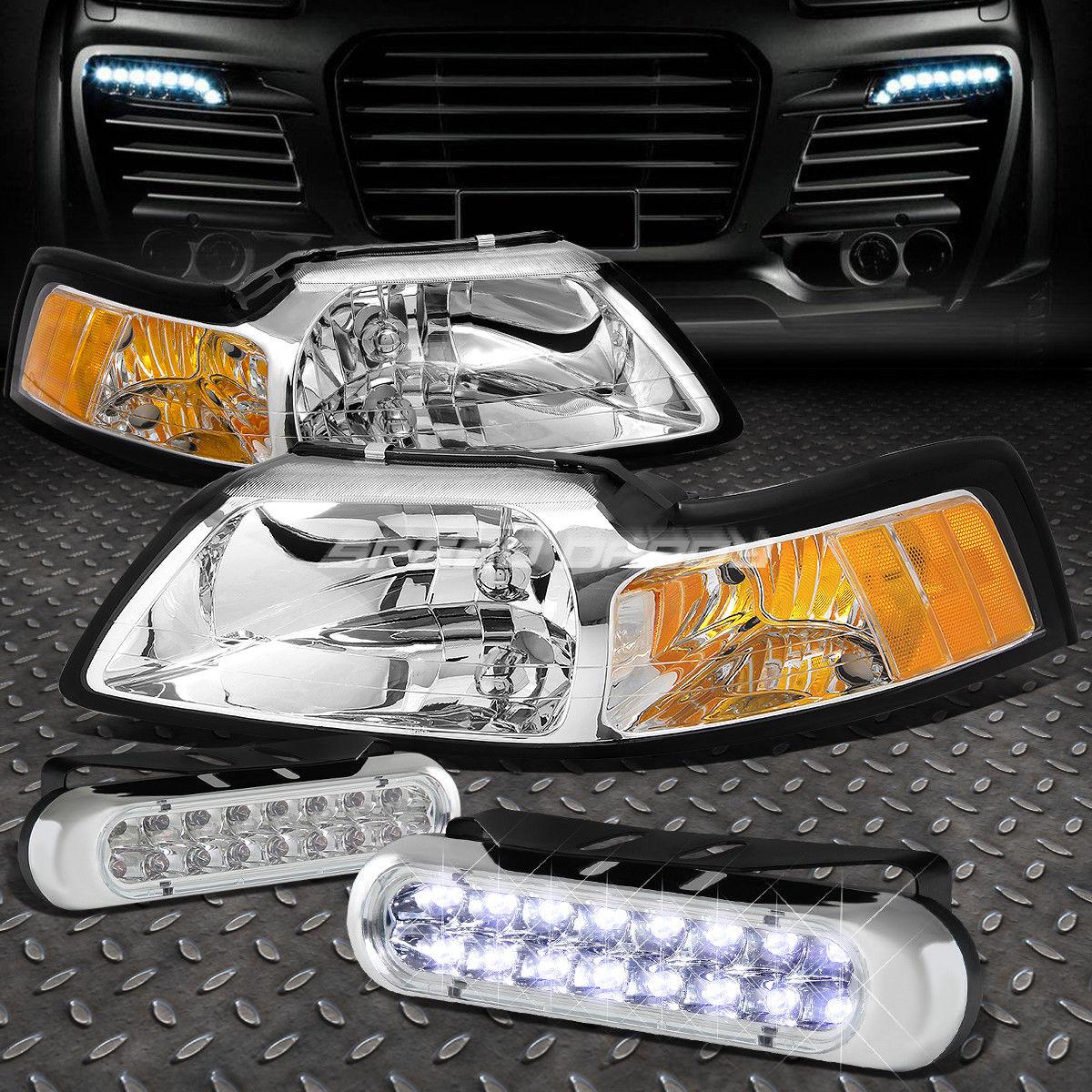 フォグライト CHROME LENS HEADLIGHT AMBER CORNER+16 LED GRILL FOG LIGHT FOR 99-04 MUSTANG SN95 CHROMEレンズヘッドライトアンバーコーナー+ LEDグローブFOGライト、99-04 MUSTANG SN95用