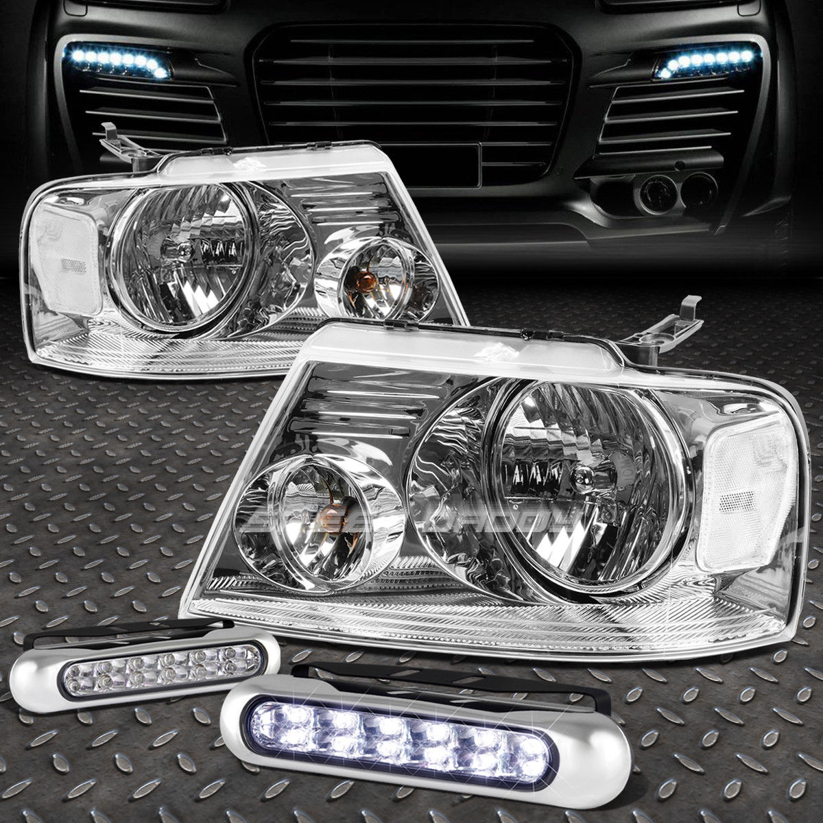 フォグライト CHROME HOUSING HEADLIGHT CLEAR CORNER+12 LED GRILL FOG LIGHT FOR 04-08 F150 CHROME HOUSING HEADLIGHT CLEAR CORNER + 04-08 F150のための12個のLEDグリルフォグライト