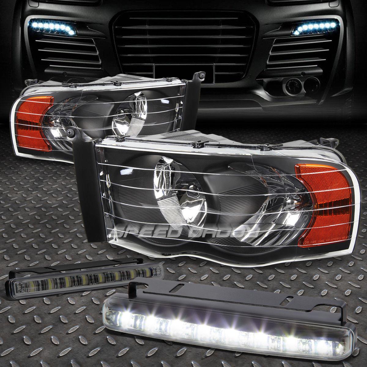 フォグライト BLACK HOUSING HEADLIGHT AMBER CORNER+8 LED SMOKE FOG LIGHT FOR 02-05 DODGE RAM ブラックハウジングヘッドライトアンバーコーナー+ 8個のLED煙霧ライト02-05ダッジRAM用