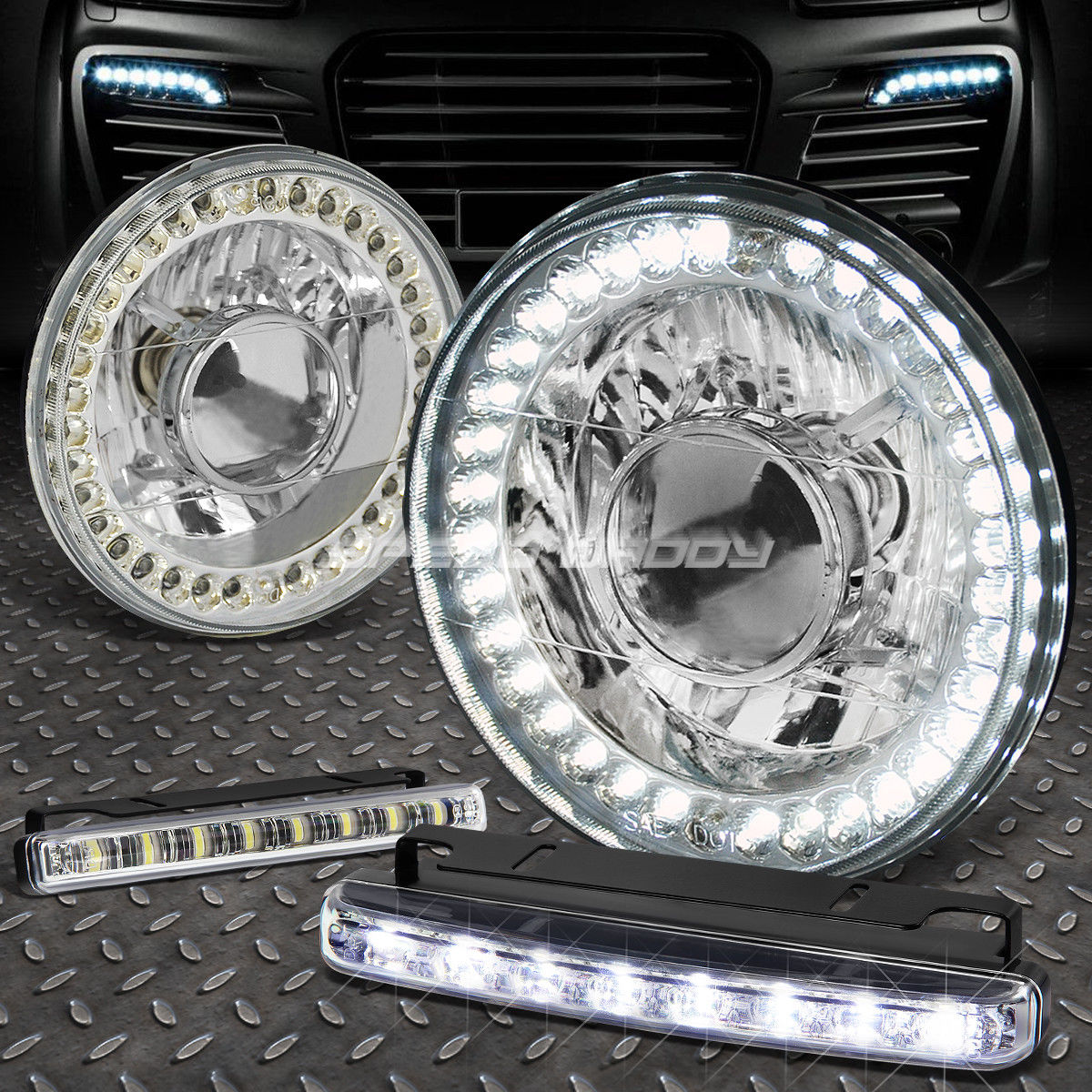 フォグライト 7x7 ROUND CHROME PROJECTOR LED HEADLIGHT+8 LED GRILL FOG LIGHT FOR BRONCO/DART 7x7 ROUND CHROME PROJECTOR LEDヘッドライト+ブロンコ/ダーツ用8 LEDグリルフォグライト