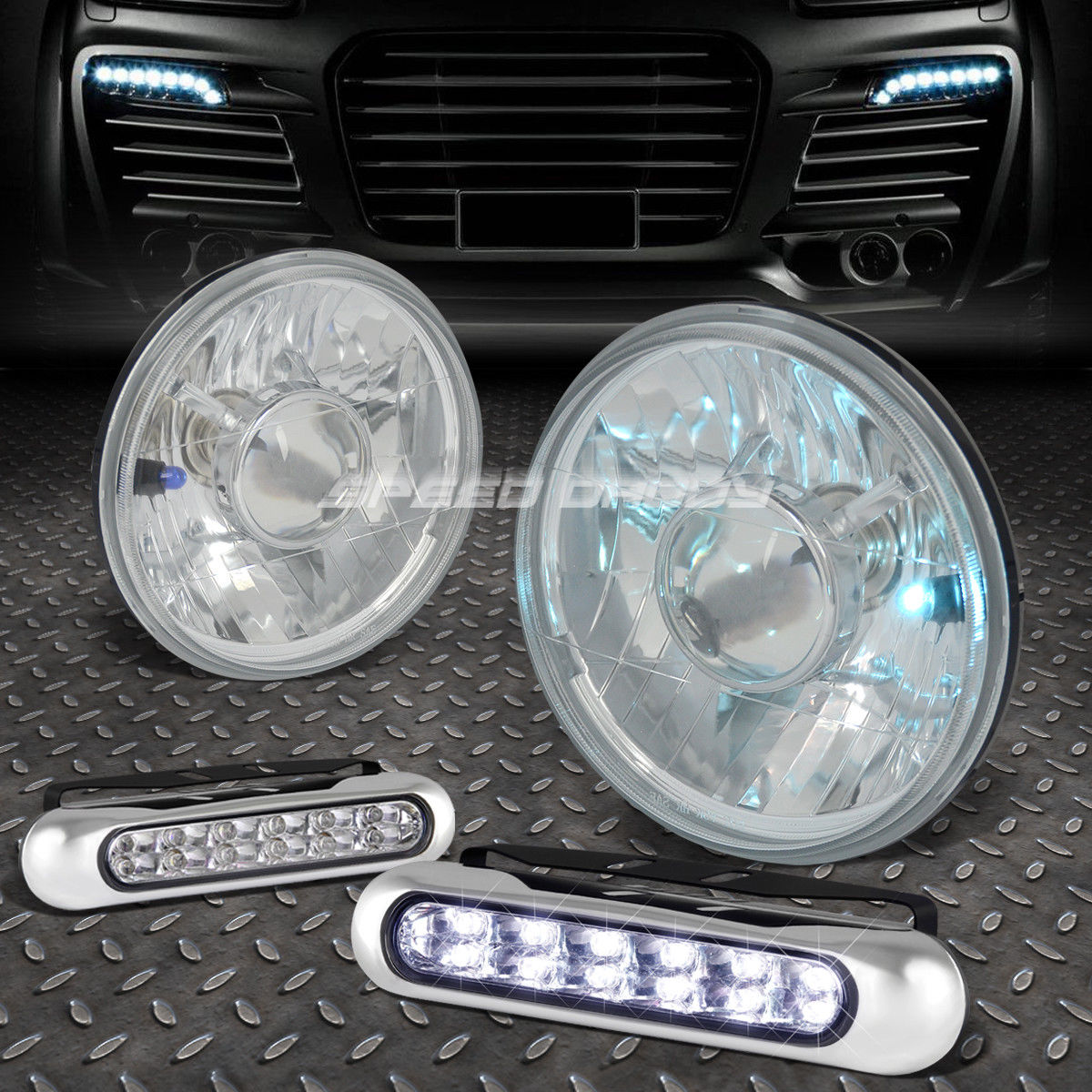 フォグライト ROUND CLEAR PROJECTOR HEADLIGHT+12 LED GRILL FOG LIGHT FOR 7