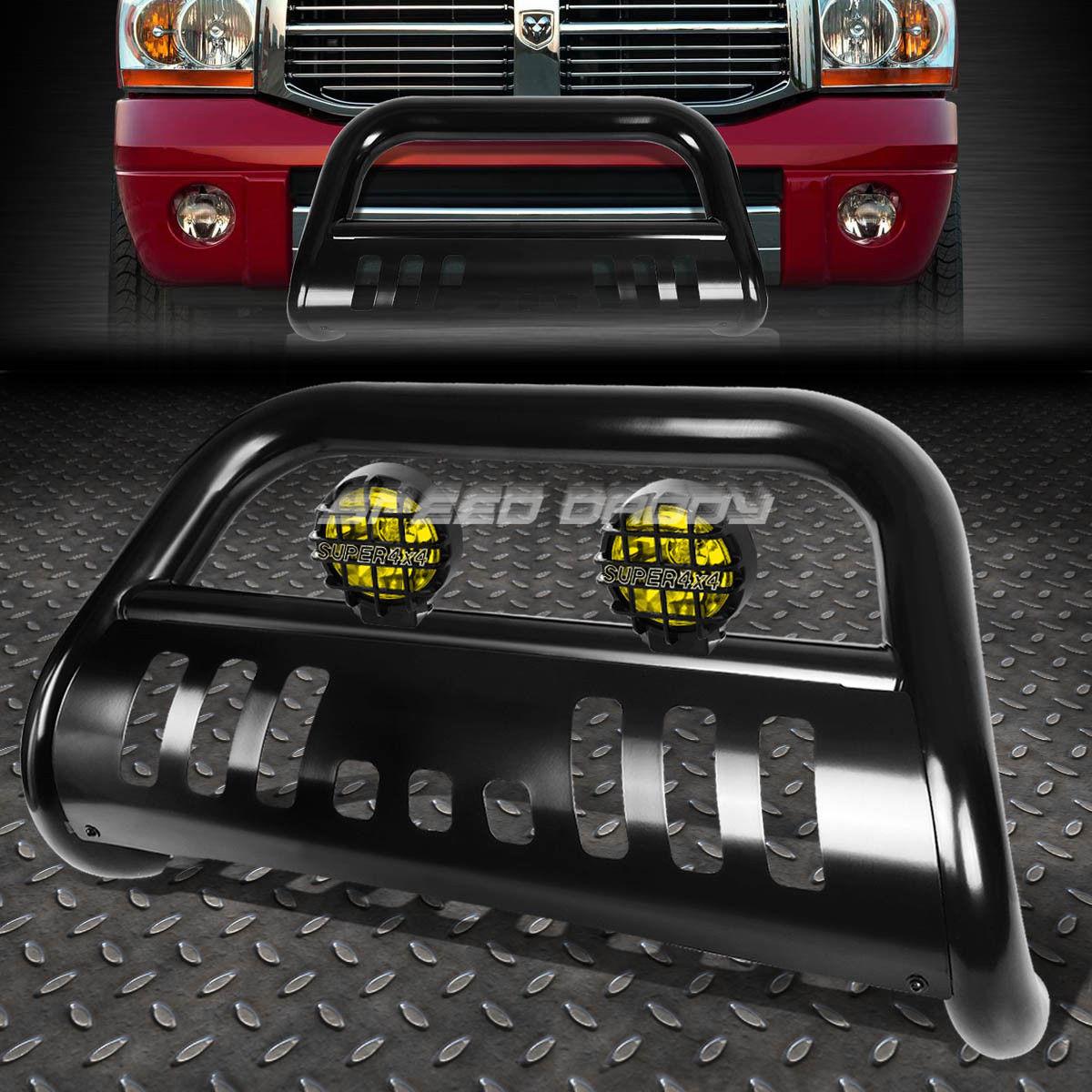 フォグライト BLACK BULL BAR GRILLE GUARD+YELLOW FOG LIGHT FOR 02-09 DODGE RAM 1500/2500/3500 BLACK BULLバーグリルガード+黄色のフォグライト02-09ダッジRAM 1500/2500/3500