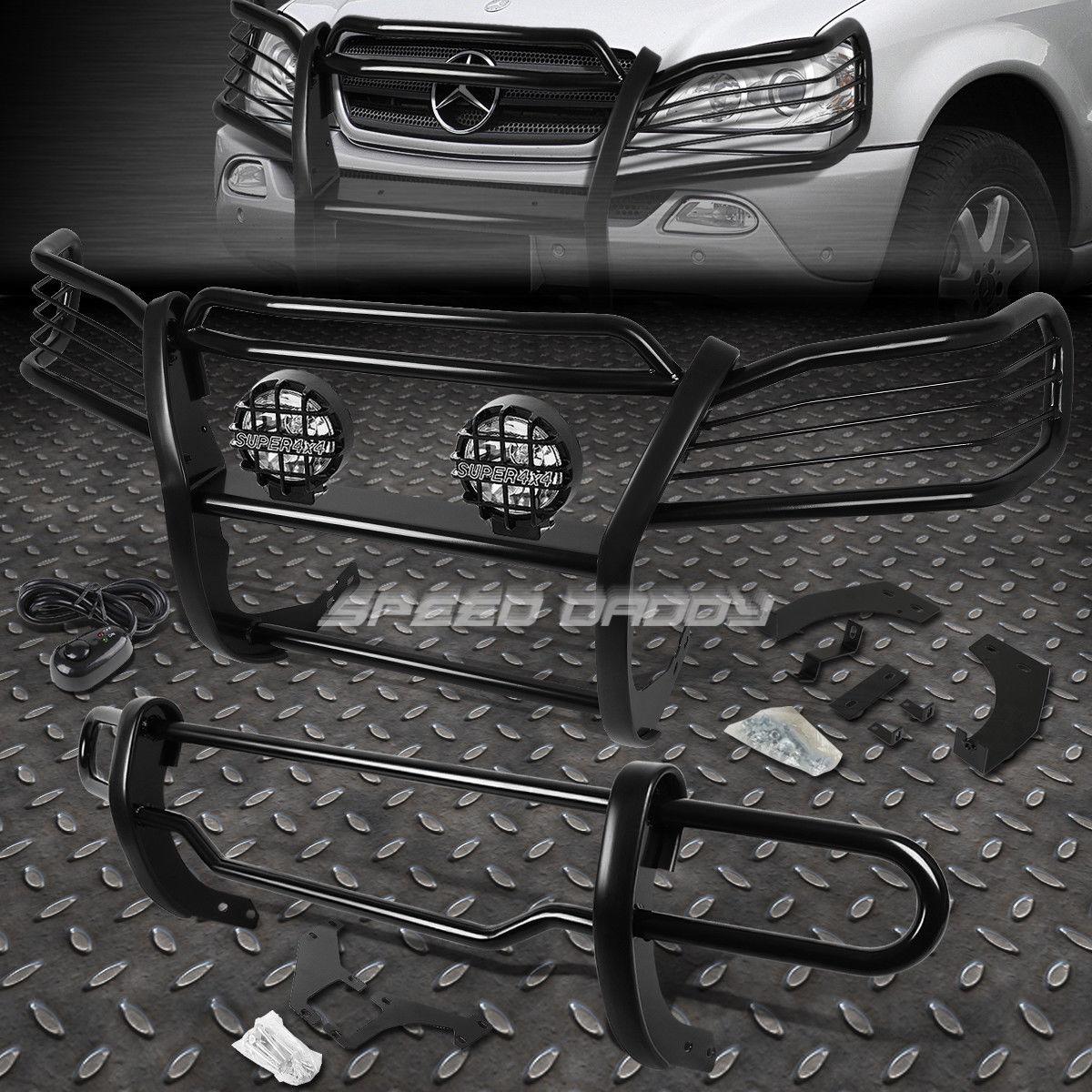 フォグライト BLACK BRUSH GRILLE+REAR BUMPER GUARD+CLEAR FOG LIGHT FOR 98-05 W163 M-CLASS SUV ブラックブラッシュグリル+リアバッカーガード+クリアフォギーライトfor 98-05 W163 MクラスSUV